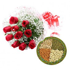 Gift Box of 1 kg Dry Fruit+12 red roses
