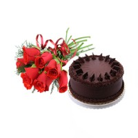 1/2 Kg Chocolate Truffle Cake and 12 red roses bunch