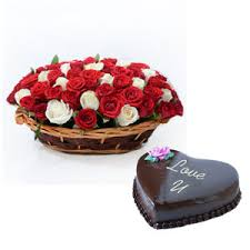 1 Kg Chocolate truffle heart Cake with 24 short stems Red and white roses basket