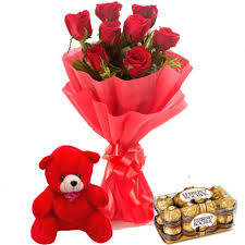 12 Red Roses bouquet with 16 Ferrero chocolate box and Teddy