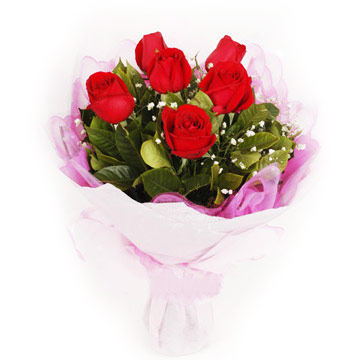 8 red roses bouquet with tinsel