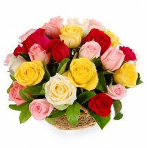 50 Mix Roses in a Basket