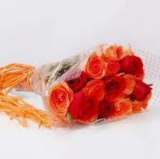 12 Red and OrangeRoses Bouquet