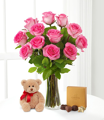 12 Pink roses vase+Pink teddy+ Heart shaped chocolates