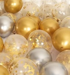 Confetti filled 30 Gold and Silver with transparent balloons big and small size