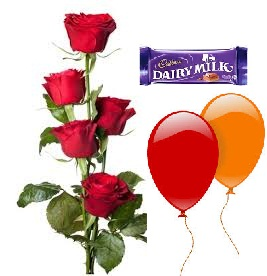 2 Blown balloons 5 Red roses hand tied 1 Dairy milk chocolate bar