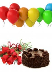 10 Air Balloons 1/2 Kg Chocolate Cake 6 Red Roses