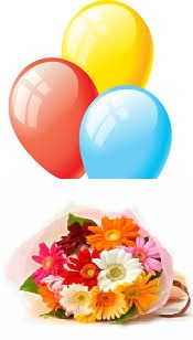 3 Air inflated Balloons with 10 Mix Gerberas