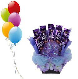 5 Air Filled balloons 8 dairy milk chocolate bouquet