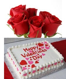 1 Kg Pineapple square Cake icing Happy Valentines Day 3 roses