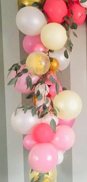 15 Pink Green and golden balloons adorned with leaves