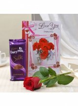 1 Cadburys Silk with 1 red roses and Card