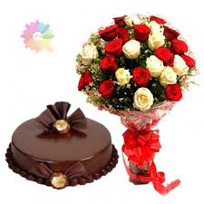 MIDNIGHT 1/2 Kg Cake and 24 red and white roses bunch