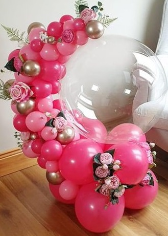 30 small and big dark and light pink balloons arch with pink flowers and happy birthday organic clear balloon