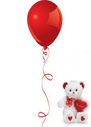 1 red Air Blown balloon 6 inches Teddy