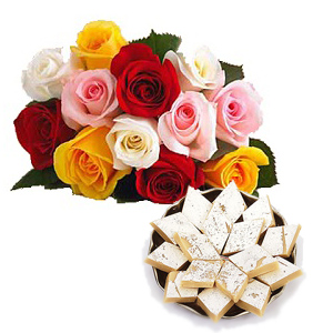 250 grams Kg Kaju Barfi+12 mix Roses