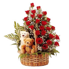 2 Teddy Bears with 24 red Roses in same basket