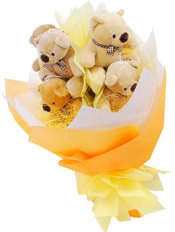 5 Teddies Bouquet