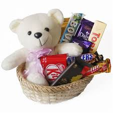 Small chocolates basket with single teddy bear