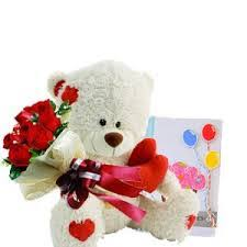 6 inch Teddy Bear and 6 Red Roses with Card
