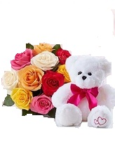 Six inches Teddy with 6 mix roses