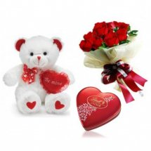 Teddy 6 inches 6 Red roses Valentine heart