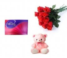 Teddy with Ten Roses and Chocolates