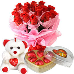 Teddy Bear and 6 Red Roses with Heart Chocolates