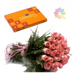 Cadburys Celebration Box+12 Pink Roses