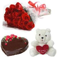 1 Kg Heart Chocolate Cake Teddy and 12 red rose blooms