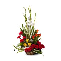 Basket of 10 red carnations 6 White gladiolii 6 yellow roses