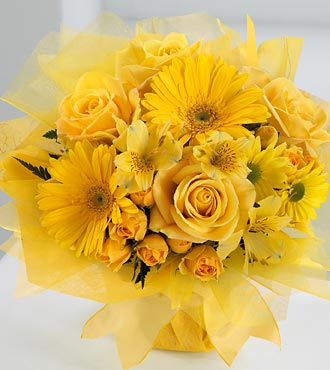 Basket of 50 Yellow Roses and yellow gerberas