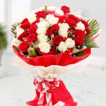 Two Dozen Hand-Tied Red and white Roses